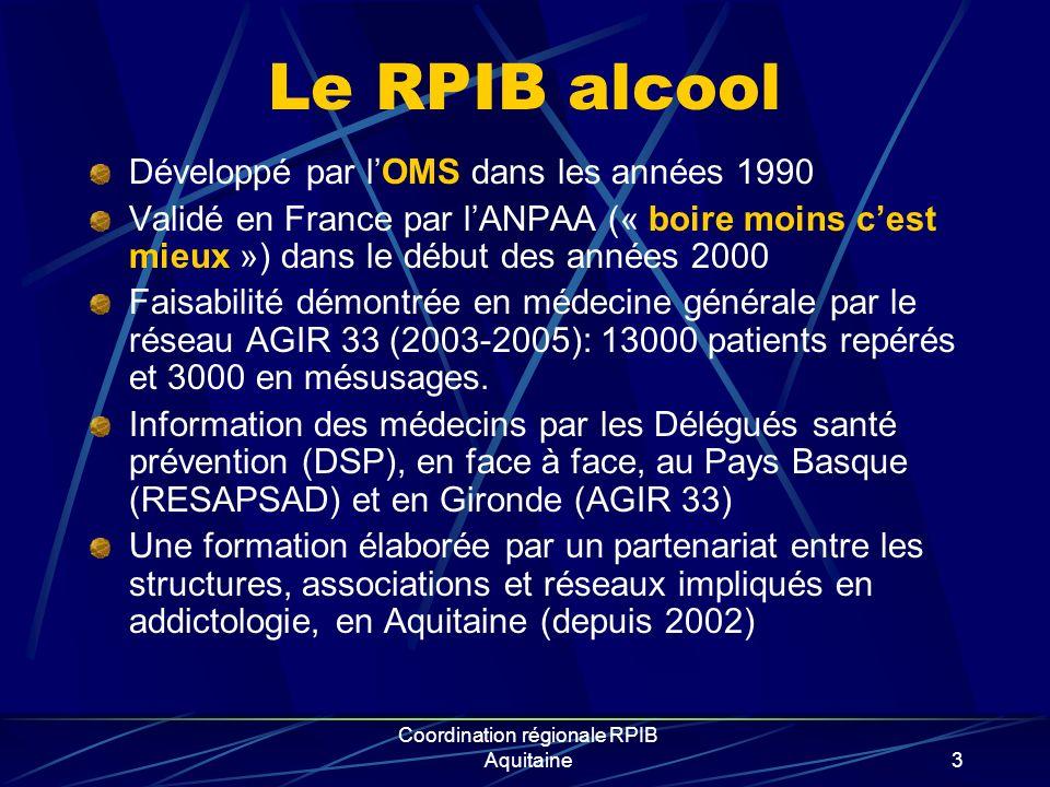 3 Le RPIB alcool Développé par lOMS dans les années 1990 Validé en France par lANPAA (« boire moins cest mieux ») dans le début des années 2000 Faisab