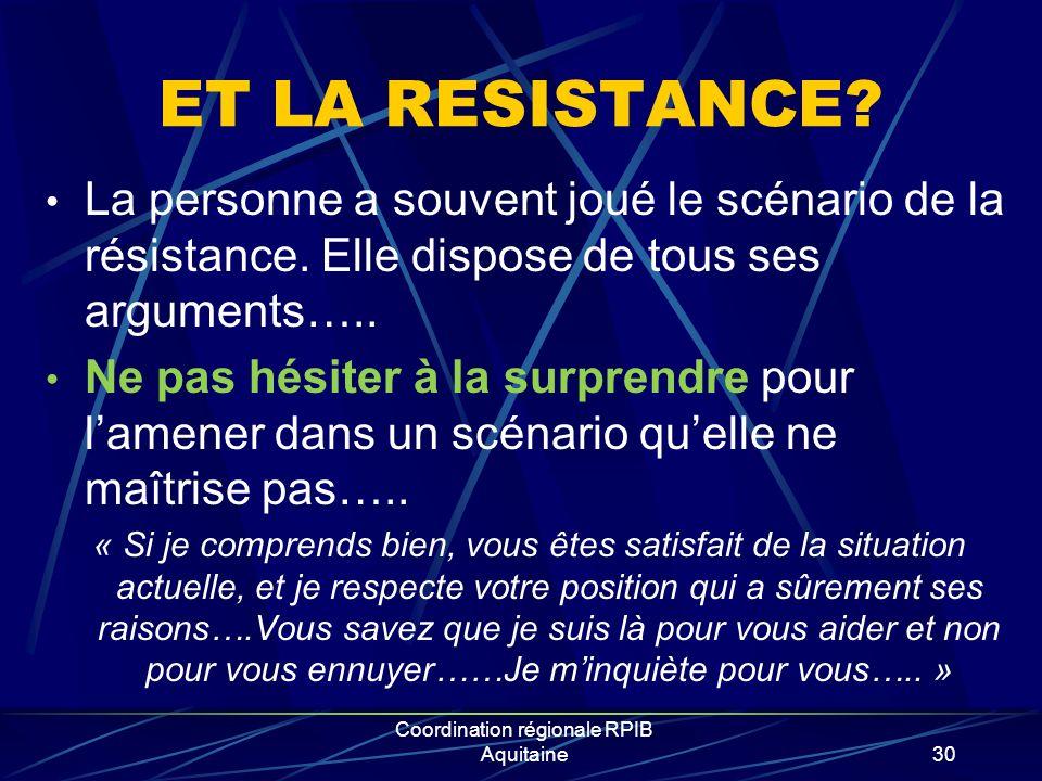 Coordination régionale RPIB Aquitaine30 ET LA RESISTANCE? La personne a souvent joué le scénario de la résistance. Elle dispose de tous ses arguments…
