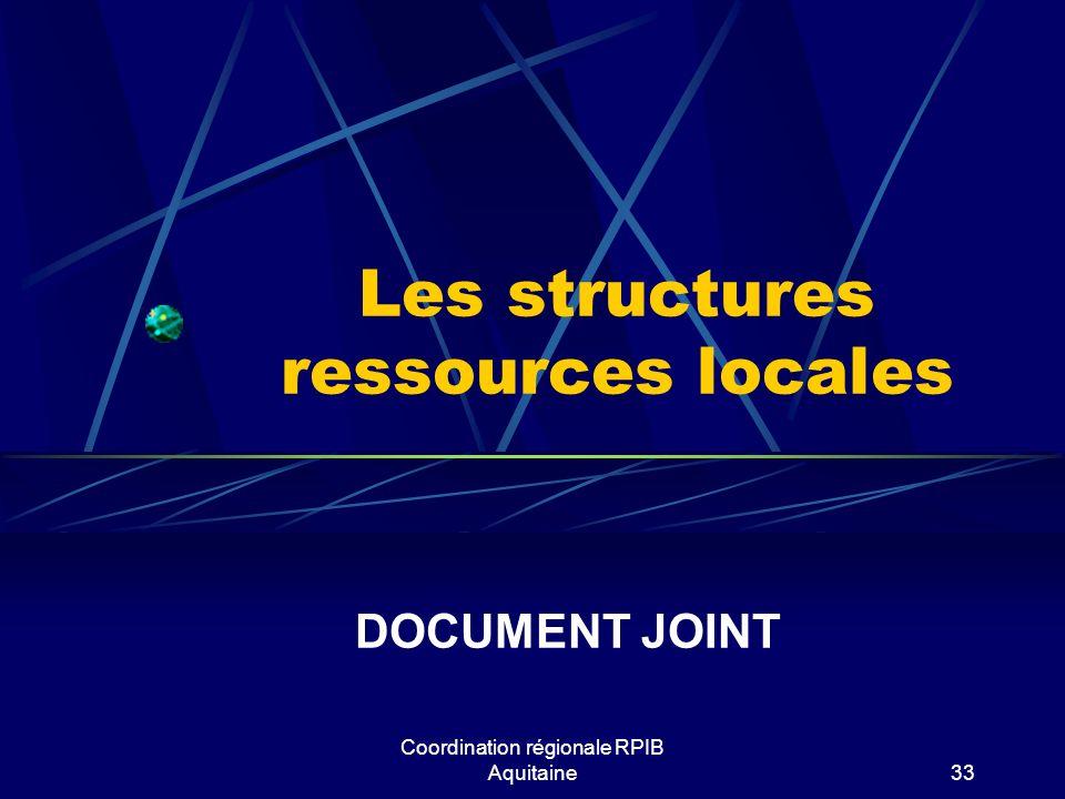 Les structures ressources locales DOCUMENT JOINT Coordination régionale RPIB Aquitaine33