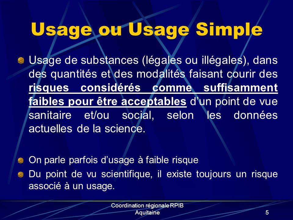Usage ou Usage Simple Usage de substances (légales ou illégales), dans des quantités et des modalités faisant courir des risques considérés comme suff
