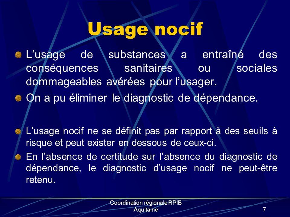 Coordination régionale RPIB Aquitaine18 Lintervention brève : objectifs Provoquer une prise de conscience: « Je suis exposé à des risques » Evoquer un changement de comportement « Je peux réduire ces risques » Respecter le choix de la personne…