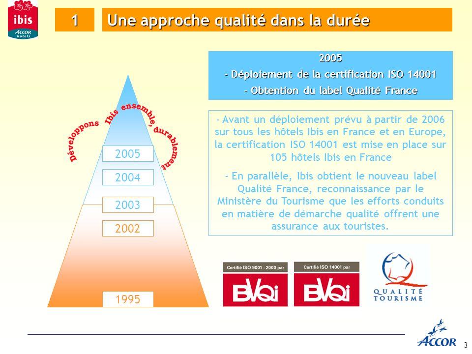 3 1 Une approche qualité dans la durée 1995 2002 2003 2004 2005 2005 - Déploiement de la certification ISO 14001 - Obtention du label Qualité France - Avant un déploiement prévu à partir de 2006 sur tous les hôtels Ibis en France et en Europe, la certification ISO 14001 est mise en place sur 105 hôtels Ibis en France - En parallèle, Ibis obtient le nouveau label Qualité France, reconnaissance par le Ministère du Tourisme que les efforts conduits en matière de démarche qualité offrent une assurance aux touristes.