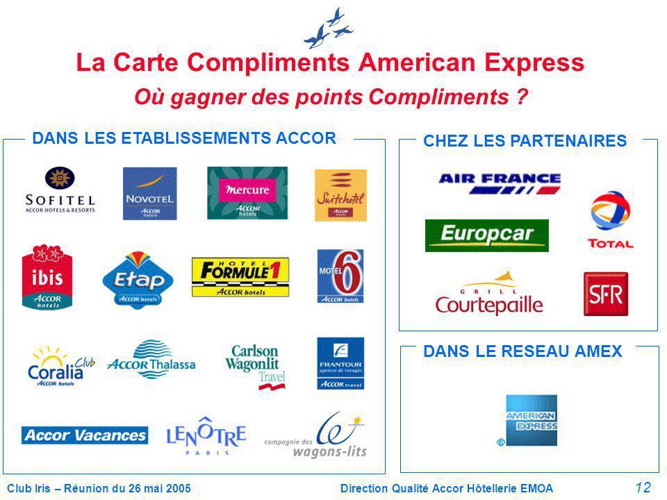 12 Club Iris – Réunion du 26 mai 2005Direction Qualité Accor Hôtellerie EMOA La Carte Compliments American Express Où gagner des points Compliments .
