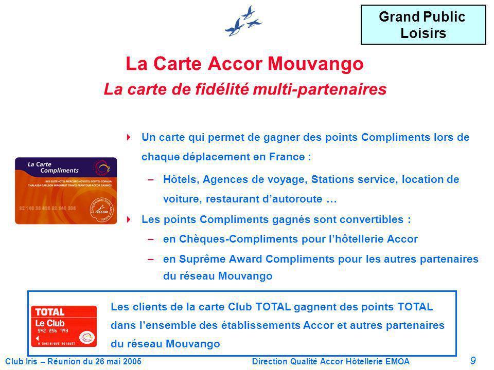 10 Club Iris – Réunion du 26 mai 2005Direction Qualité Accor Hôtellerie EMOA Le réseau MOUVANGO 1e réseau de programmes de fidélité multi- partenaires dans lunivers des déplacements et des loisirs.