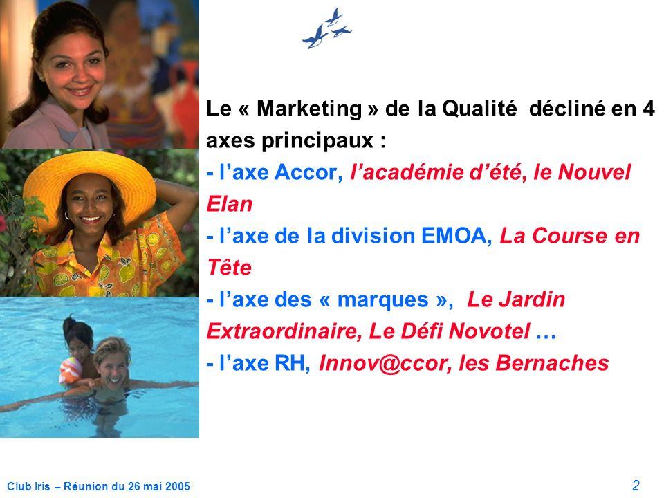 2 Club Iris – Réunion du 26 mai 2005 Le « Marketing » de la Qualité décliné en 4 axes principaux : - laxe Accor, lacadémie dété, le Nouvel Elan - laxe