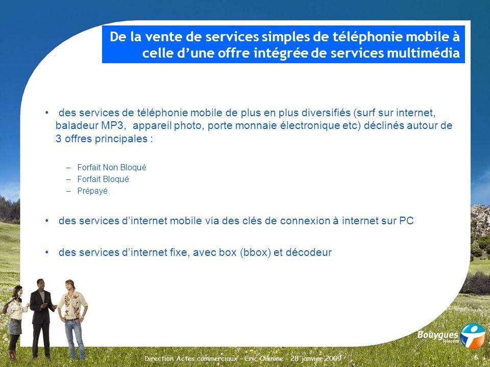 6 Direction Actes commerciaux – Eric Oiknine – 28 janvier 2009 des services de téléphonie mobile de plus en plus diversifiés (surf sur internet, balad