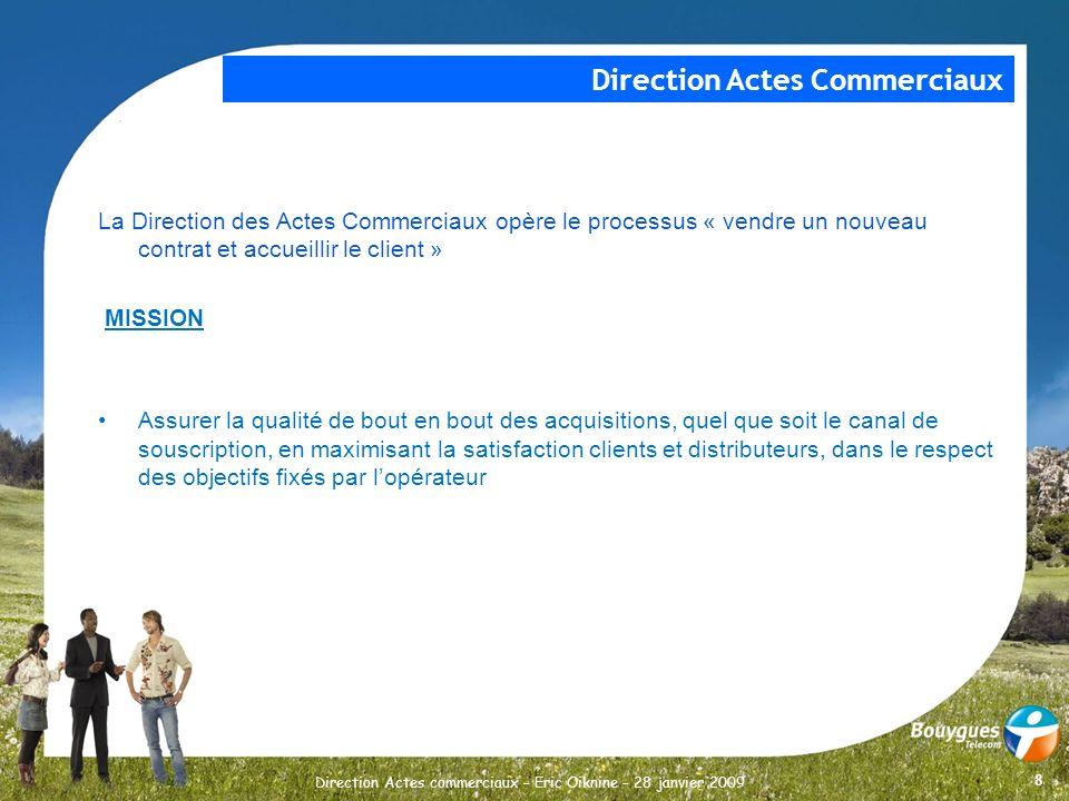 8 Direction Actes commerciaux – Eric Oiknine – 28 janvier 2009 La Direction des Actes Commerciaux opère le processus « vendre un nouveau contrat et ac