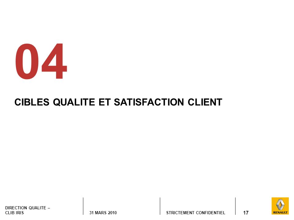 STRICTEMENT CONFIDENTIEL DIRECTION QUALITE – CLIB IRIS 31 MARS 2010 17 CIBLES QUALITE ET SATISFACTION CLIENT 04