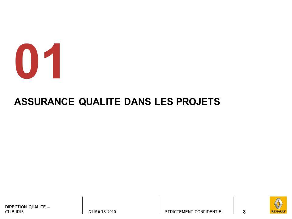 STRICTEMENT CONFIDENTIEL DIRECTION QUALITE – CLIB IRIS 31 MARS 2010 3 ASSURANCE QUALITE DANS LES PROJETS 01