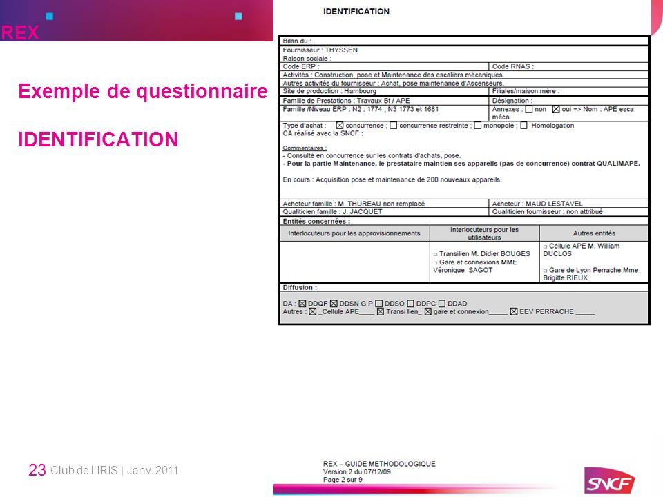 Club de lIRIS | Janv. 2011 23 Exemple de questionnaire IDENTIFICATION REX