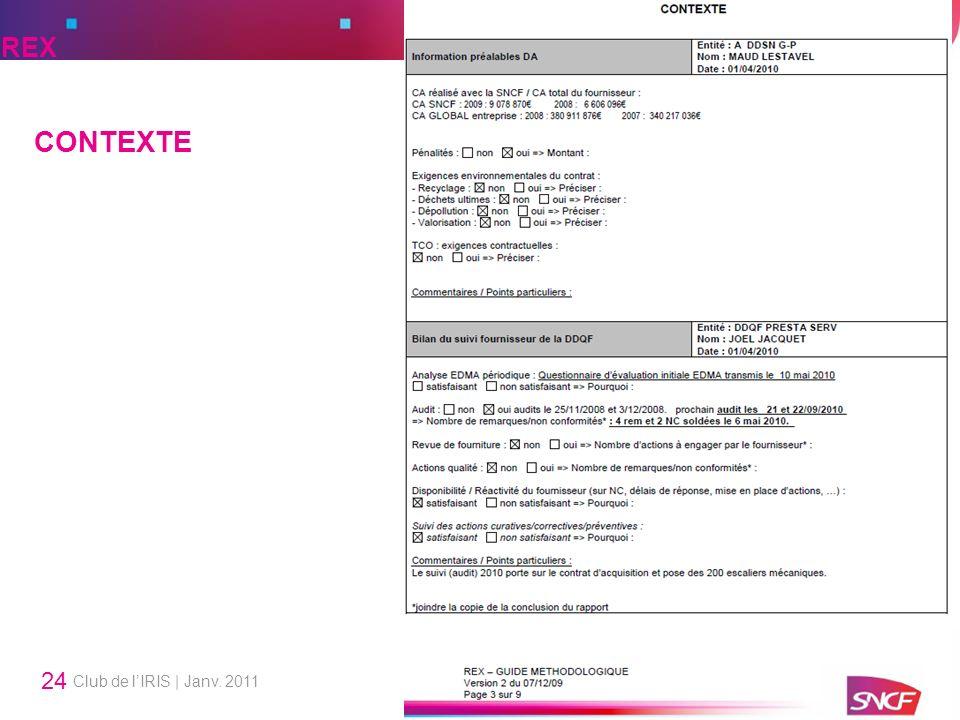 Club de lIRIS | Janv. 2011 24 CONTEXTE REX