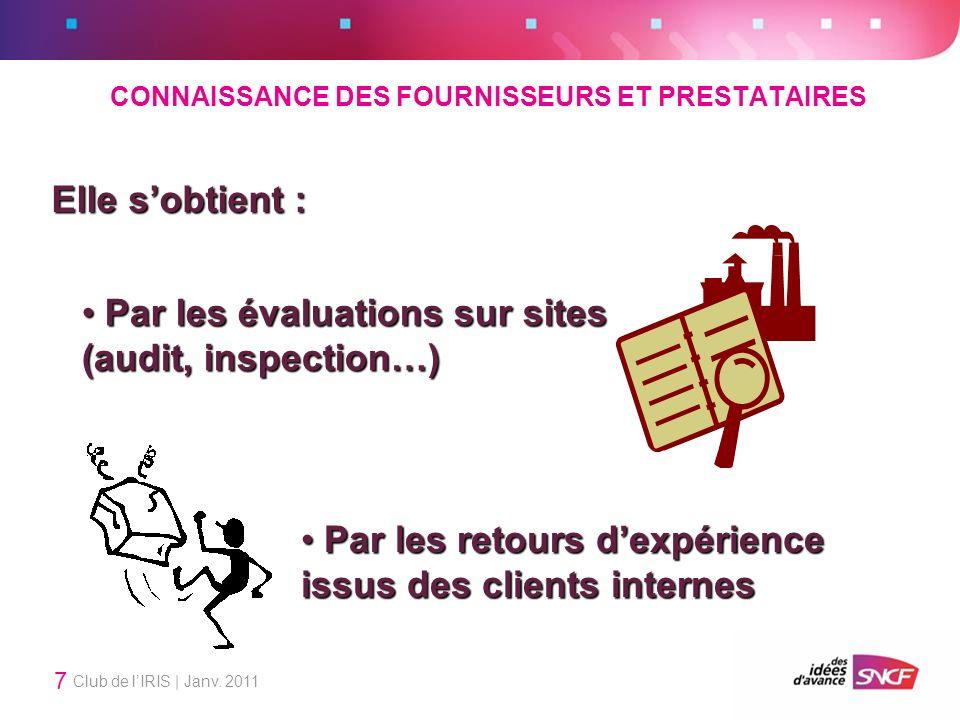 Club de lIRIS | Janv. 2011 7 Elle sobtient : Par les évaluations sur sites (audit, inspection…) Par les évaluations sur sites (audit, inspection…) Par