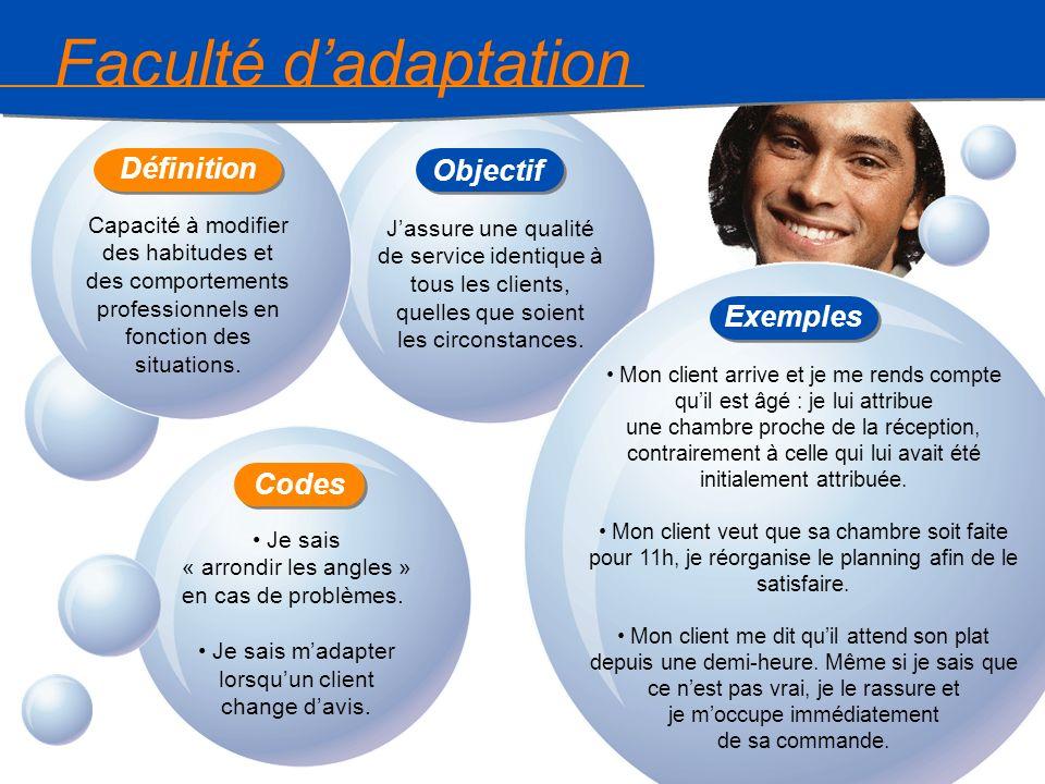 12 Faculté dadaptation Capacité à modifier des habitudes et des comportements professionnels en fonction des situations. Jassure une qualité de servic