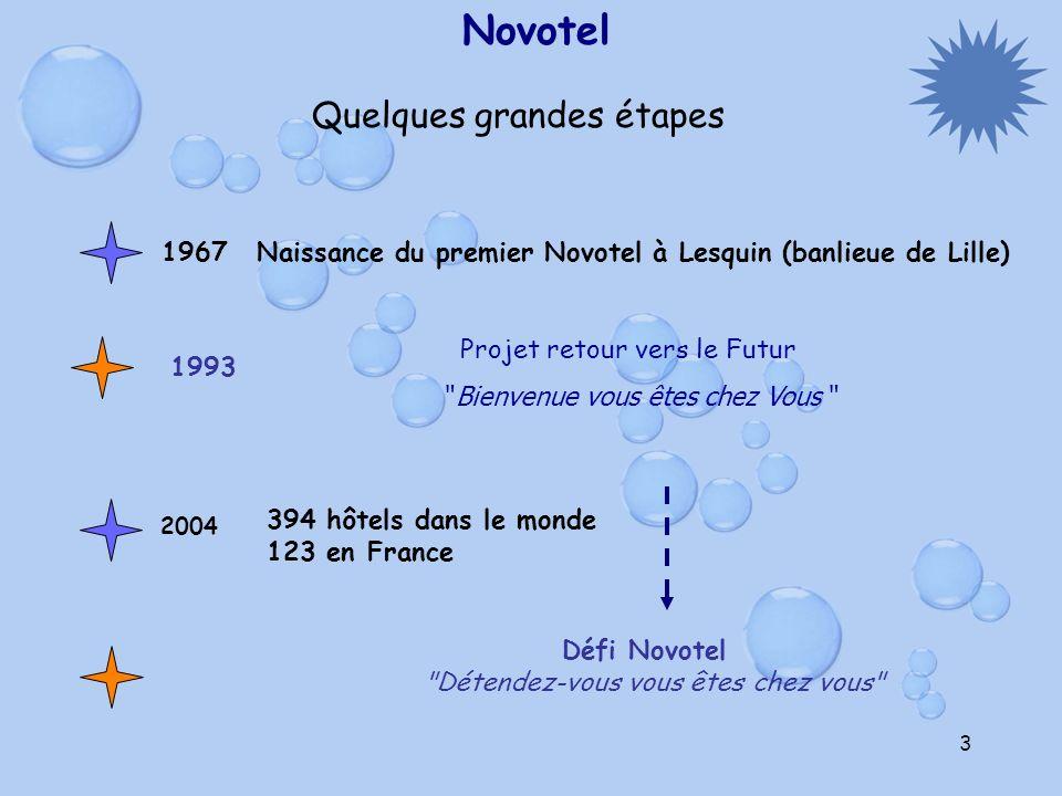 3 Novotel Quelques grandes étapes 1967 Naissance du premier Novotel à Lesquin (banlieue de Lille) Projet retour vers le Futur