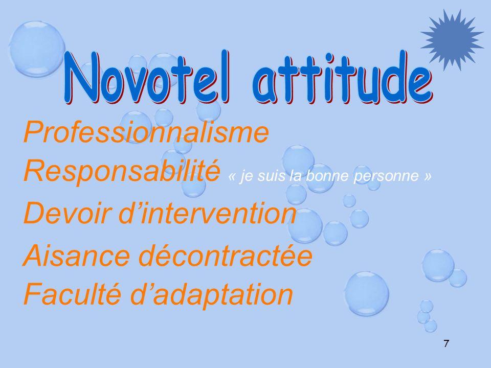 7 Professionnalisme Responsabilité « je suis la bonne personne » Devoir dintervention Aisance décontractée Faculté dadaptation