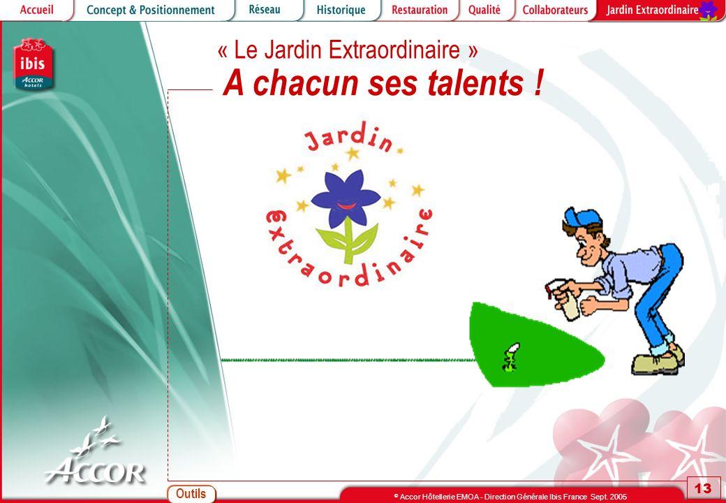 Outils 13 © Accor Hôtellerie EMOA - Direction Générale Ibis France Sept. 2005 A chacun ses talents ! « Le Jardin Extraordinaire »