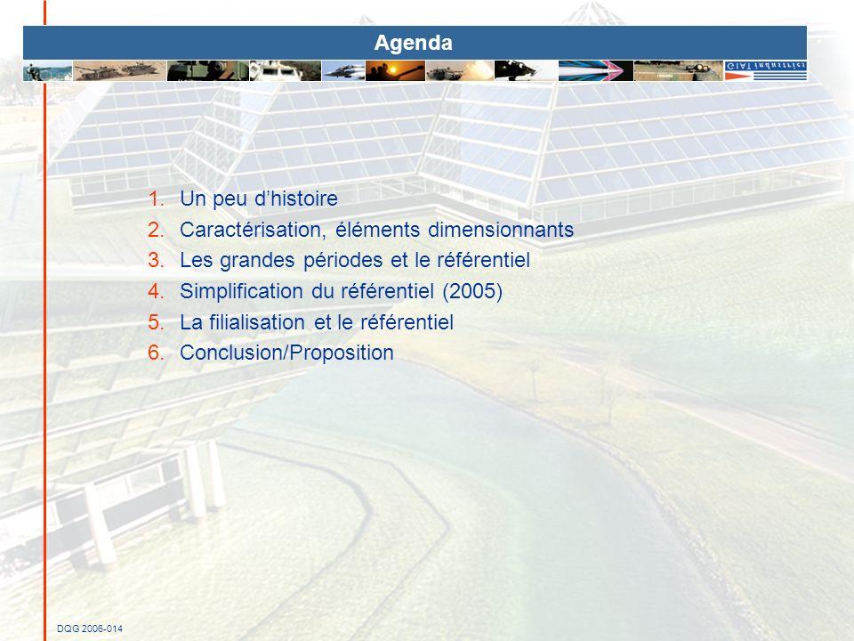 DQG 2006-014 Agenda 1.Un peu dhistoire 2.Caractérisation, éléments dimensionnants 3.Les grandes périodes et le référentiel 4.Simplification du référen