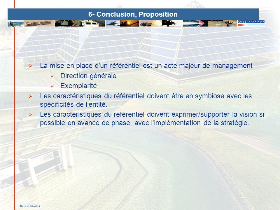 DQG 2006-014 6- Conclusion, Proposition La mise en place dun référentiel est un acte majeur de management Direction générale Exemplarité Les caractéri