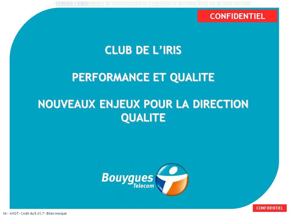 CONFIDENTIEL 06 – AMGT – Codir du 5.03.7 – Bilan marque CLUB DE LIRIS PERFORMANCE ET QUALITE NOUVEAUX ENJEUX POUR LA DIRECTION QUALITE