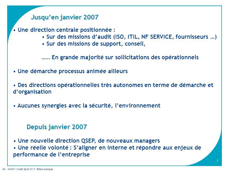 06 – AMGT – Codir du 5.03.7 – Bilan marque 7 Une direction centrale positionnée : Sur des missions daudit (ISO, ITIL, NF SERVICE, fournisseurs …) Sur