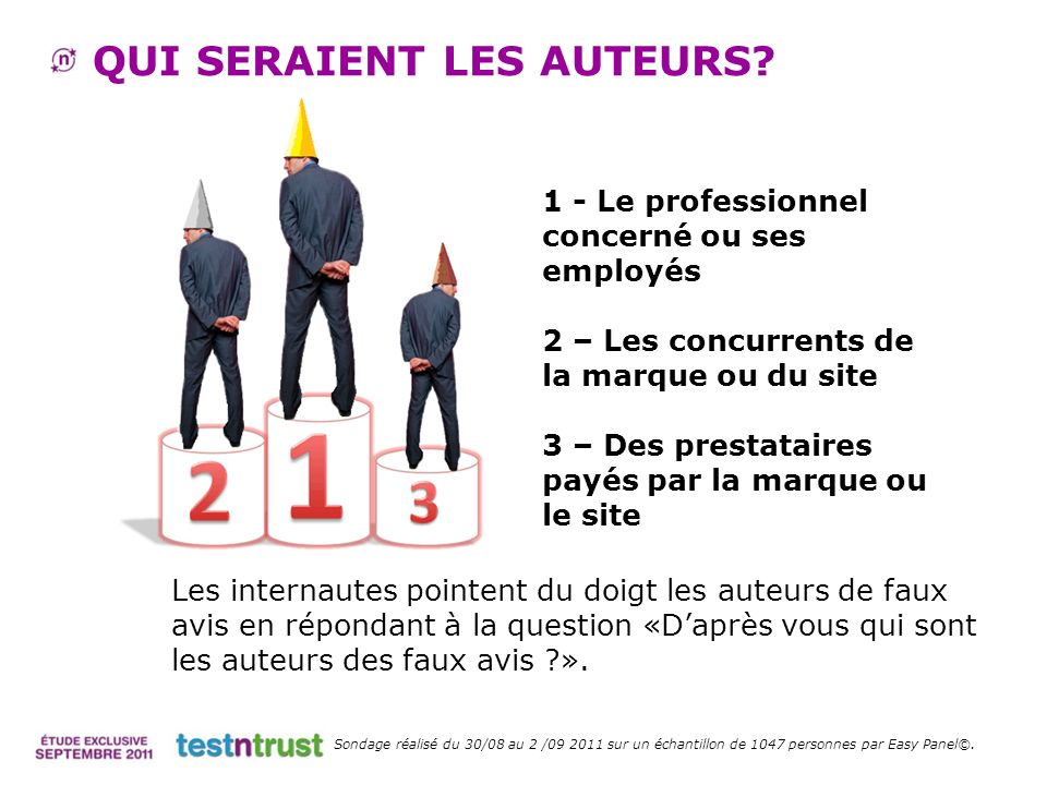 QUI SERAIENT LES AUTEURS? 1 - Le professionnel concerné ou ses employés 2 – Les concurrents de la marque ou du site 3 – Des prestataires payés par la