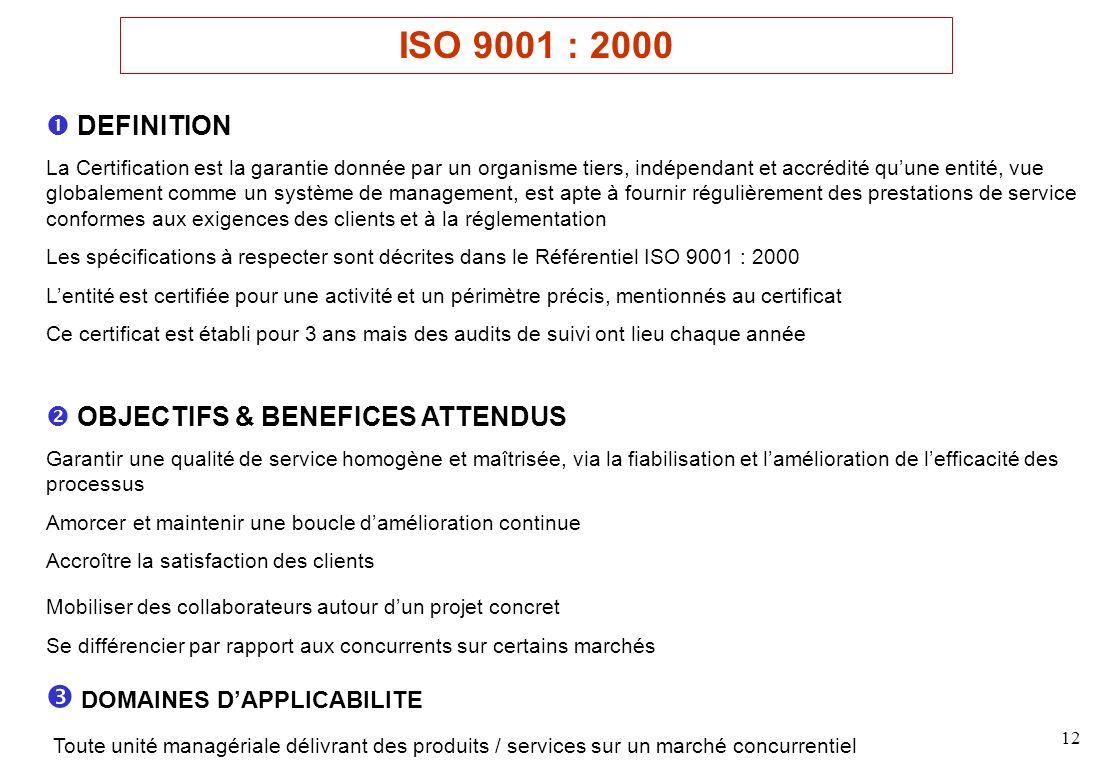 12 DEFINITION La Certification est la garantie donnée par un organisme tiers, indépendant et accrédité quune entité, vue globalement comme un système de management, est apte à fournir régulièrement des prestations de service conformes aux exigences des clients et à la réglementation Les spécifications à respecter sont décrites dans le Référentiel ISO 9001 : 2000 Lentité est certifiée pour une activité et un périmètre précis, mentionnés au certificat Ce certificat est établi pour 3 ans mais des audits de suivi ont lieu chaque année OBJECTIFS & BENEFICES ATTENDUS Garantir une qualité de service homogène et maîtrisée, via la fiabilisation et lamélioration de lefficacité des processus Amorcer et maintenir une boucle damélioration continue Accroître la satisfaction des clients Mobiliser des collaborateurs autour dun projet concret Se différencier par rapport aux concurrents sur certains marchés DOMAINES DAPPLICABILITE Toute unité managériale délivrant des produits / services sur un marché concurrentiel ISO 9001 : 2000