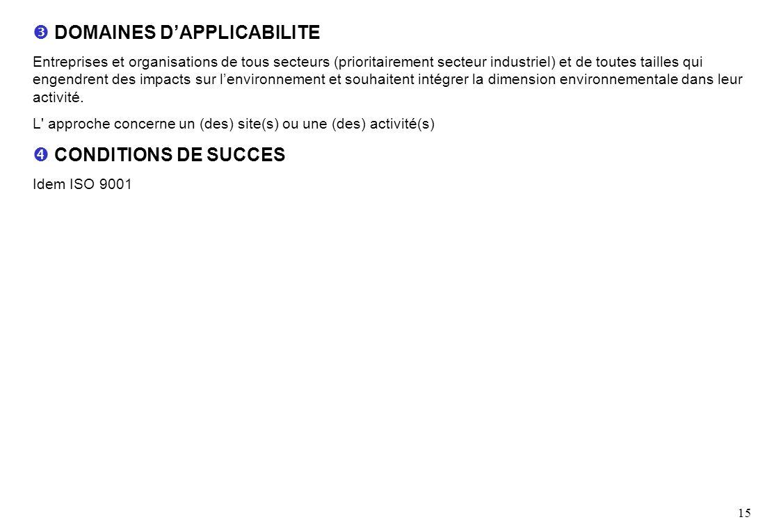15 DOMAINES DAPPLICABILITE Entreprises et organisations de tous secteurs (prioritairement secteur industriel) et de toutes tailles qui engendrent des