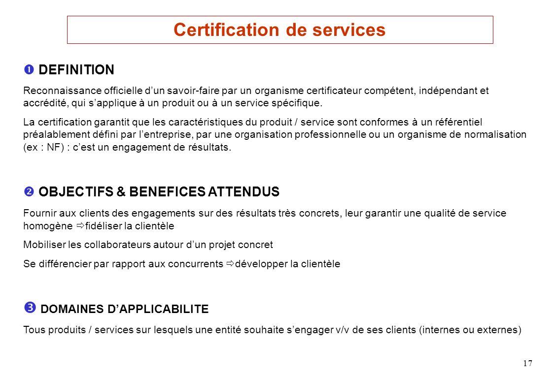 17 DEFINITION Reconnaissance officielle dun savoir-faire par un organisme certificateur compétent, indépendant et accrédité, qui sapplique à un produit ou à un service spécifique.