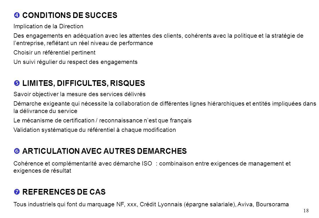 18 CONDITIONS DE SUCCES Implication de la Direction Des engagements en adéquation avec les attentes des clients, cohérents avec la politique et la stratégie de lentreprise, reflétant un réel niveau de performance Choisir un référentiel pertinent Un suivi régulier du respect des engagements LIMITES, DIFFICULTES, RISQUES Savoir objectiver la mesure des services délivrés Démarche exigeante qui nécessite la collaboration de différentes lignes hiérarchiques et entités impliquées dans la délivrance du service Le mécanisme de certification / reconnaissance nest que français Validation systématique du référentiel à chaque modification ARTICULATION AVEC AUTRES DEMARCHES Cohérence et complémentarité avec démarche ISO : combinaison entre exigences de management et exigences de résultat REFERENCES DE CAS Tous industriels qui font du marquage NF, xxx, Crédit Lyonnais (épargne salariale), Aviva, Boursorama