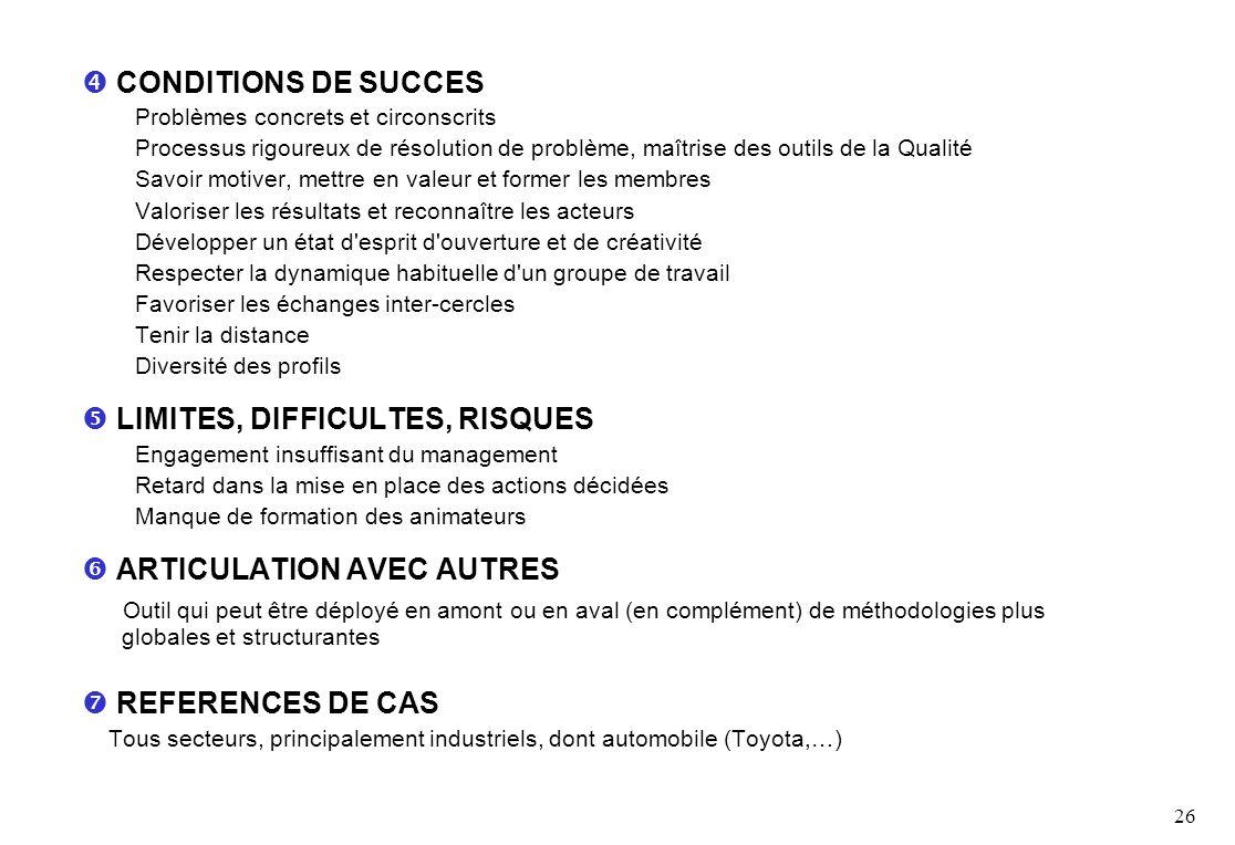 26 CONDITIONS DE SUCCES Problèmes concrets et circonscrits Processus rigoureux de résolution de problème, maîtrise des outils de la Qualité Savoir mot