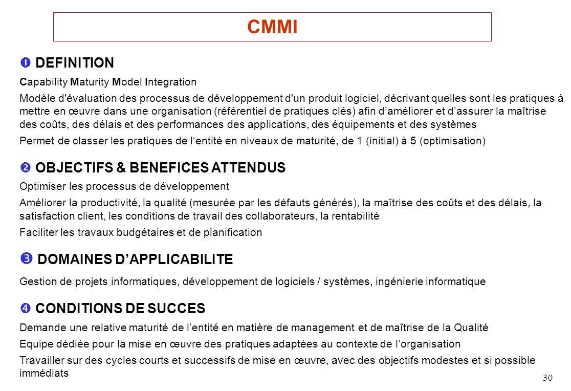 30 DEFINITION Capability Maturity Model Integration Modèle d évaluation des processus de développement d un produit logiciel, décrivant quelles sont les pratiques à mettre en œuvre dans une organisation (référentiel de pratiques clés) afin daméliorer et dassurer la maîtrise des coûts, des délais et des performances des applications, des équipements et des systèmes Permet de classer les pratiques de lentité en niveaux de maturité, de 1 (initial) à 5 (optimisation) OBJECTIFS & BENEFICES ATTENDUS Optimiser les processus de développement Améliorer la productivité, la qualité (mesurée par les défauts générés), la maîtrise des coûts et des délais, la satisfaction client, les conditions de travail des collaborateurs, la rentabilité Faciliter les travaux budgétaires et de planification DOMAINES DAPPLICABILITE Gestion de projets informatiques, développement de logiciels / systèmes, ingénierie informatique CONDITIONS DE SUCCES Demande une relative maturité de lentité en matière de management et de maîtrise de la Qualité Equipe dédiée pour la mise en œuvre des pratiques adaptées au contexte de lorganisation Travailler sur des cycles courts et successifs de mise en œuvre, avec des objectifs modestes et si possible immédiats CMMI