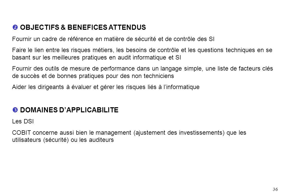 36 OBJECTIFS & BENEFICES ATTENDUS Fournir un cadre de référence en matière de sécurité et de contrôle des SI Faire le lien entre les risques métiers,