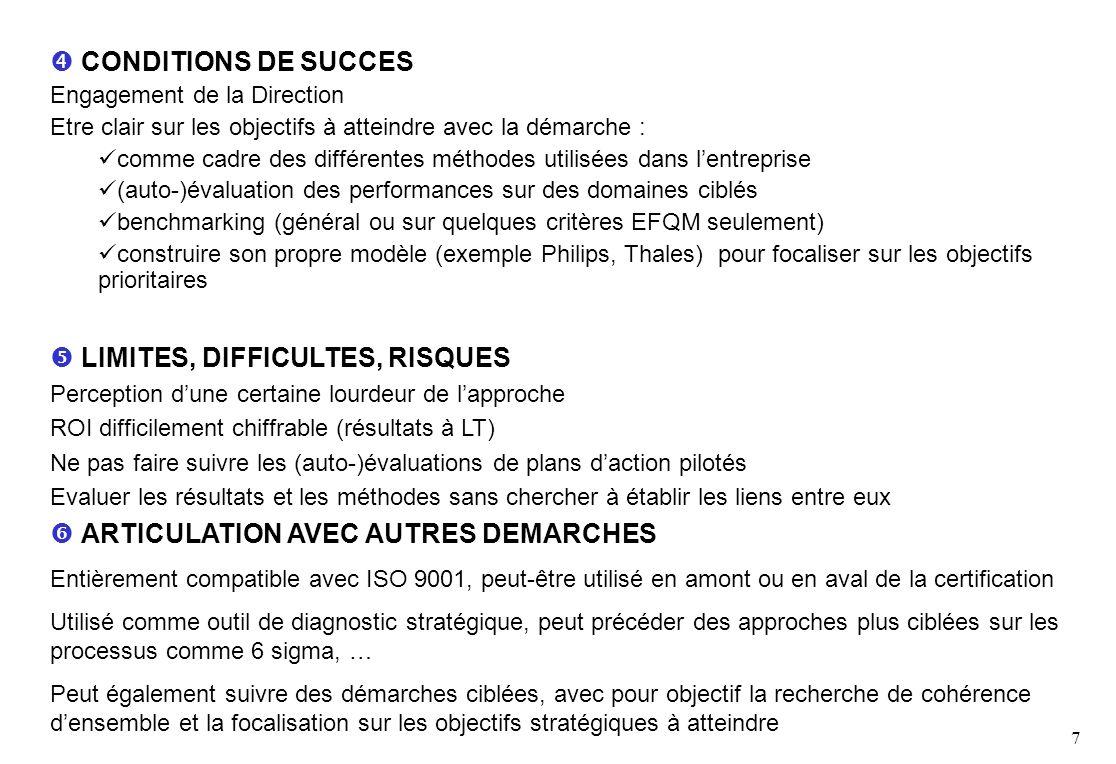 7 CONDITIONS DE SUCCES Engagement de la Direction Etre clair sur les objectifs à atteindre avec la démarche : comme cadre des différentes méthodes utilisées dans lentreprise (auto-)évaluation des performances sur des domaines ciblés benchmarking (général ou sur quelques critères EFQM seulement) construire son propre modèle (exemple Philips, Thales) pour focaliser sur les objectifs prioritaires LIMITES, DIFFICULTES, RISQUES Perception dune certaine lourdeur de lapproche ROI difficilement chiffrable (résultats à LT) Ne pas faire suivre les (auto-)évaluations de plans daction pilotés Evaluer les résultats et les méthodes sans chercher à établir les liens entre eux ARTICULATION AVEC AUTRES DEMARCHES Entièrement compatible avec ISO 9001, peut-être utilisé en amont ou en aval de la certification Utilisé comme outil de diagnostic stratégique, peut précéder des approches plus ciblées sur les processus comme 6 sigma, … Peut également suivre des démarches ciblées, avec pour objectif la recherche de cohérence densemble et la focalisation sur les objectifs stratégiques à atteindre