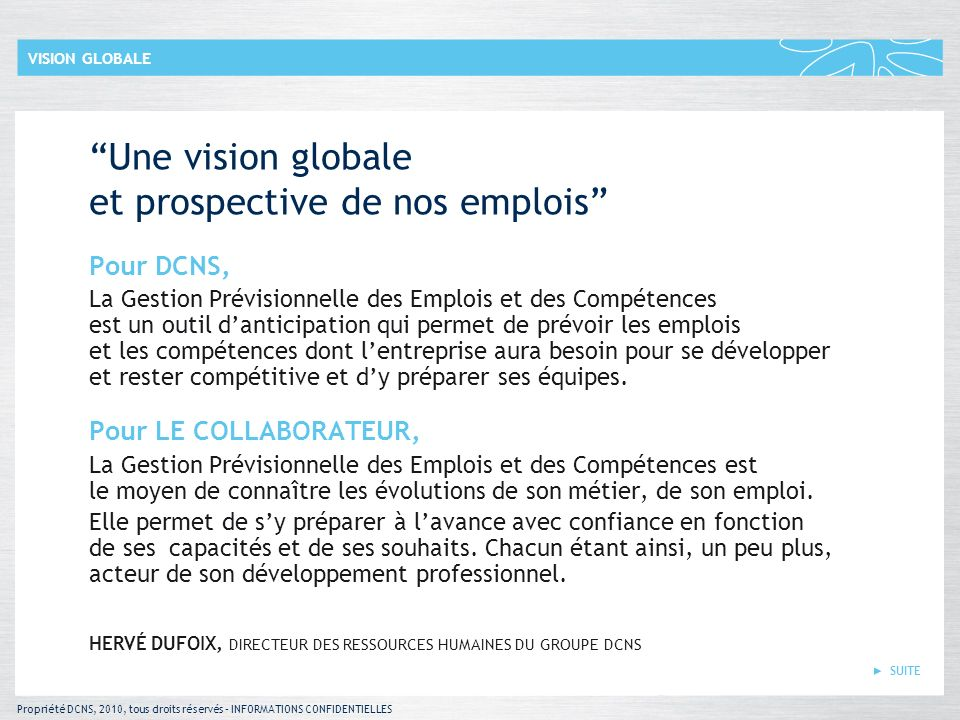 Propriété DCNS, 2010, tous droits réservés – INFORMATIONS CONFIDENTIELLES SUITE VISION GLOBALE Une vision globale et prospective de nos emplois Pour D