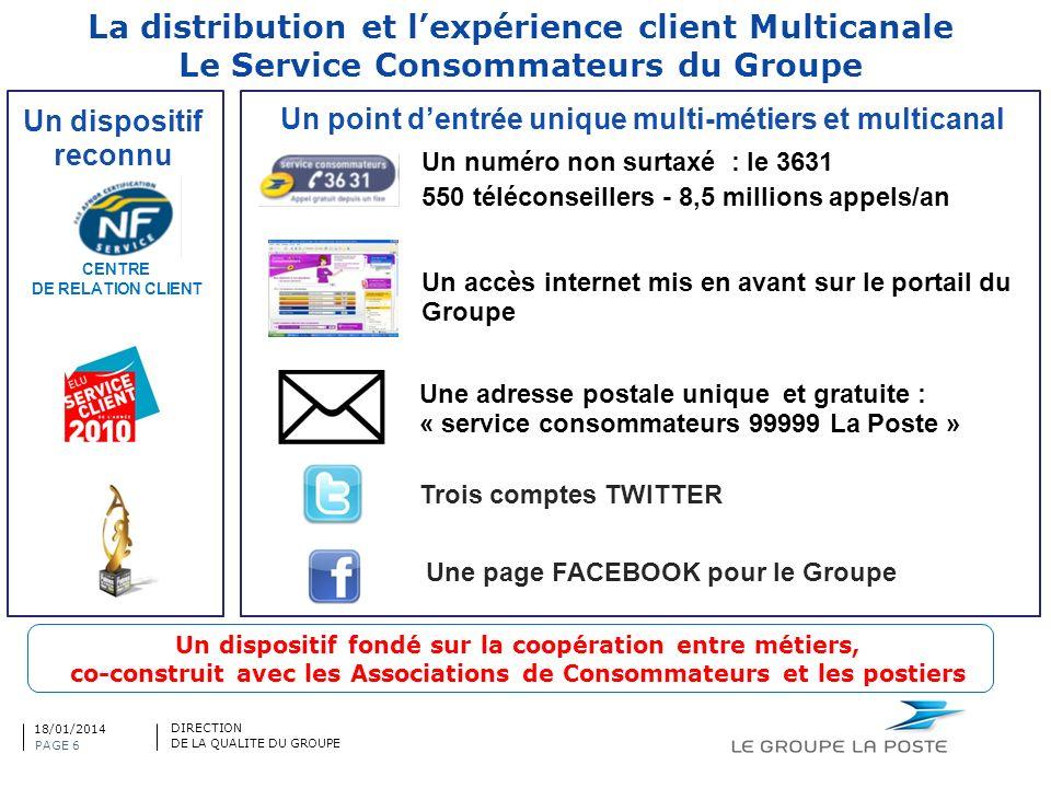 La distribution et lexpérience client Multicanale Le Service Consommateurs du Groupe CENTRE DE RELATION CLIENT Un point dentrée unique multi-métiers e