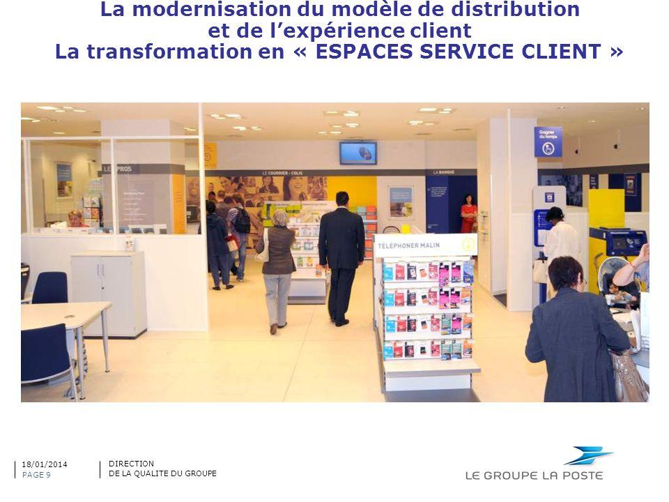 La modernisation du modèle de distribution et de lexpérience client La transformation en « ESPACES SERVICE CLIENT » PAGE 9 DIRECTION DE LA QUALITE DU
