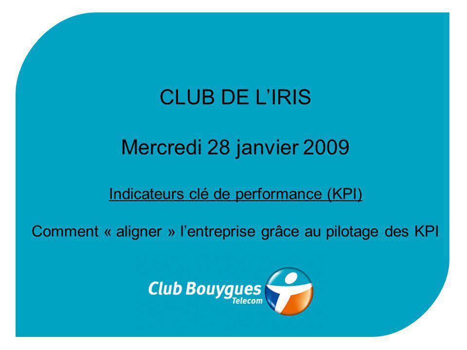 CLUB DE LIRIS Mercredi 28 janvier 2009 Indicateurs clé de performance (KPI) Comment « aligner » lentreprise grâce au pilotage des KPI