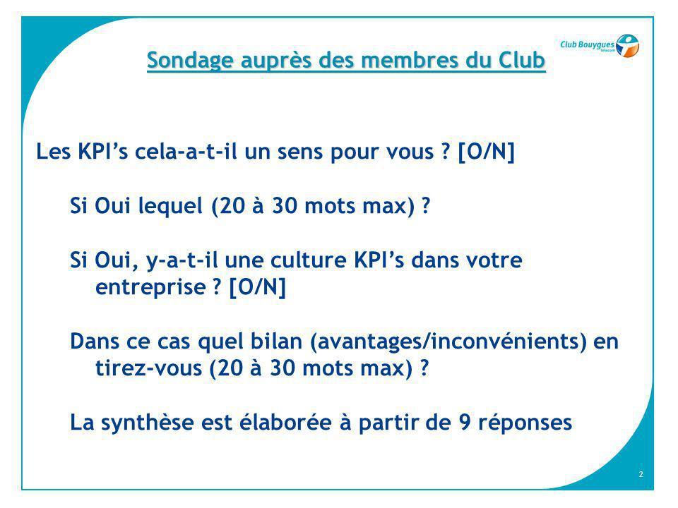 2 Sondage auprès des membres du Club Les KPIs cela-a-t-il un sens pour vous ? [O/N] Si Oui lequel (20 à 30 mots max) ? Si Oui, y-a-t-il une culture KP