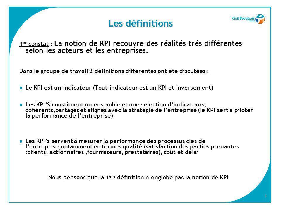 3 Les définitions 1 er constat : La notion de KPI recouvre des réalités trés différentes selon les acteurs et les entreprises. Dans le groupe de trava