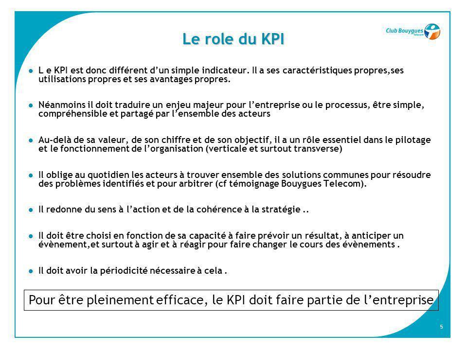 5 Le role du KPI L e KPI est donc différent dun simple indicateur. Il a ses caractéristiques propres,ses utilisations propres et ses avantages propres