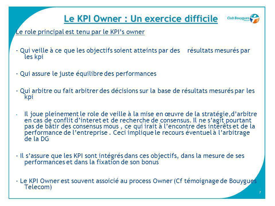 7 Le KPI Owner : Un exercice difficile Le role principal est tenu par le KPIs owner - Qui veille à ce que les objectifs soient atteints par des résult