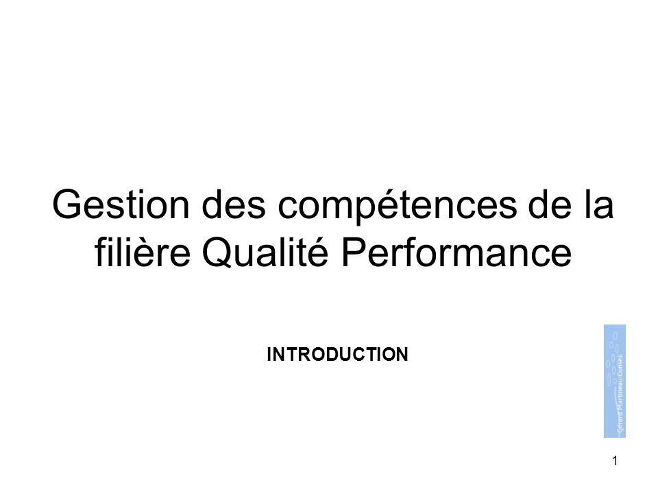 Gestion des compétences de la filière Qualité Performance INTRODUCTION 1