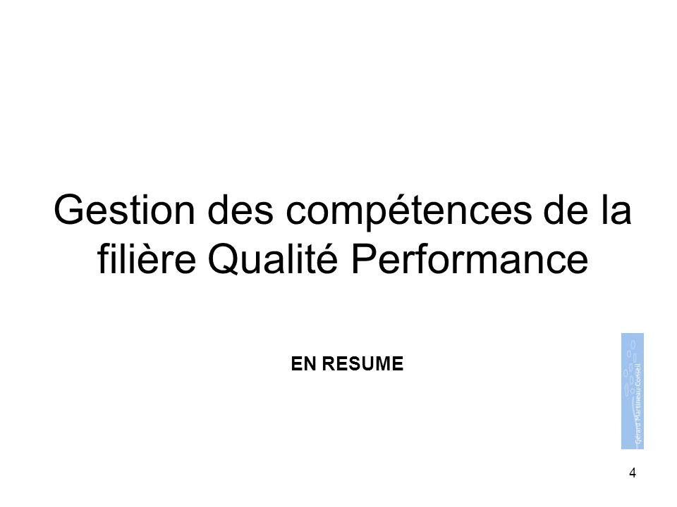 Gestion des compétences de la filière Qualité Performance EN RESUME 4