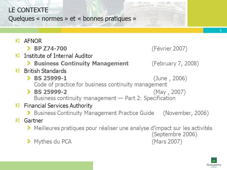 7 Le PCA dans la gestion des risques Les rôles respectifs Démarche générale pour une entreprise Outil proposé LAPPROCHE
