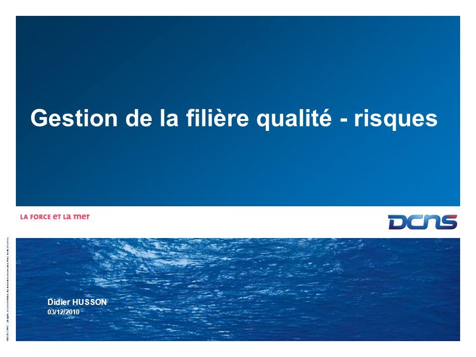 ©DCNS 2007 - all rights reserved / todos los derechos reservados / tous droits réservés Gestion de la filière qualité - risques Didier HUSSON 03/12/20
