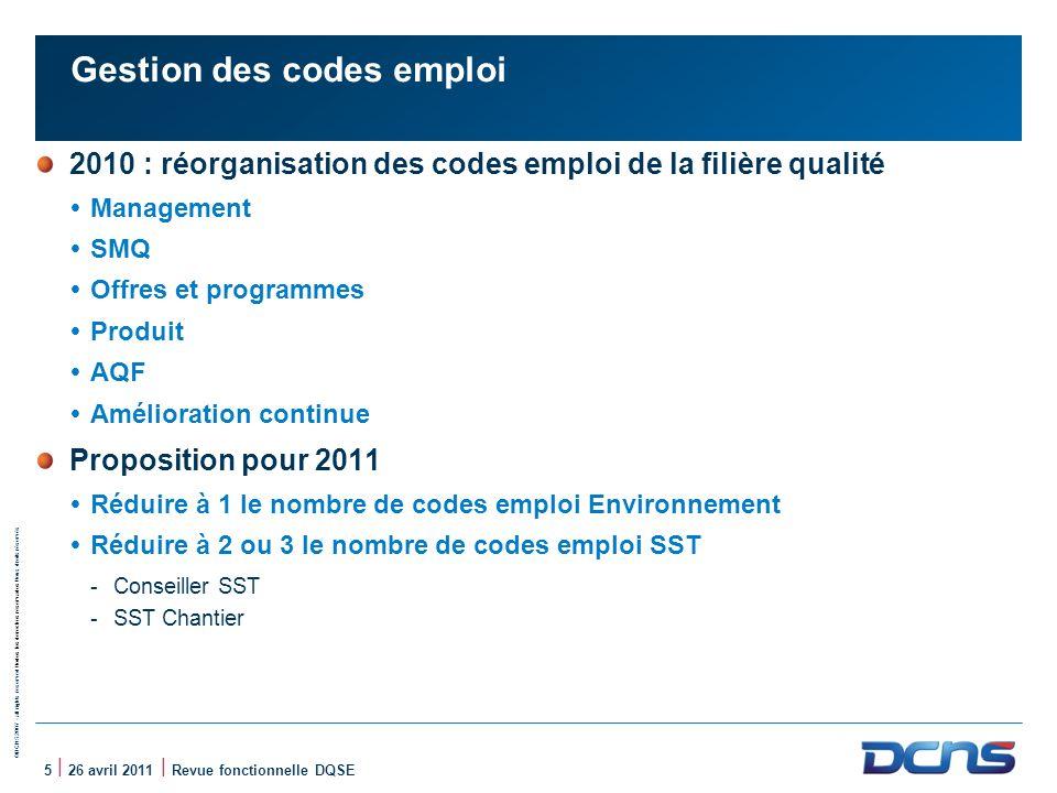©DCNS 2007 - all rights reserved / todos los derechos reservados / tous droits réservés 5 | 26 avril 2011 | Revue fonctionnelle DQSE Gestion des codes