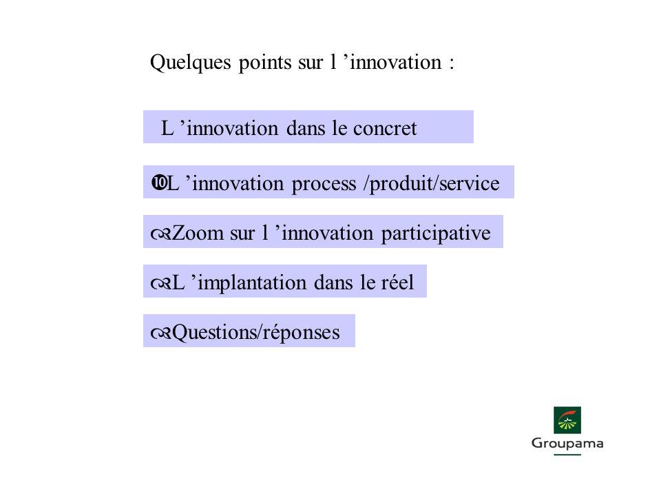 L innovation dans le concret • L innovation process /produit/service ™ Zoom sur l innovation participative ™ L implantation dans le réel ™ Questions/r
