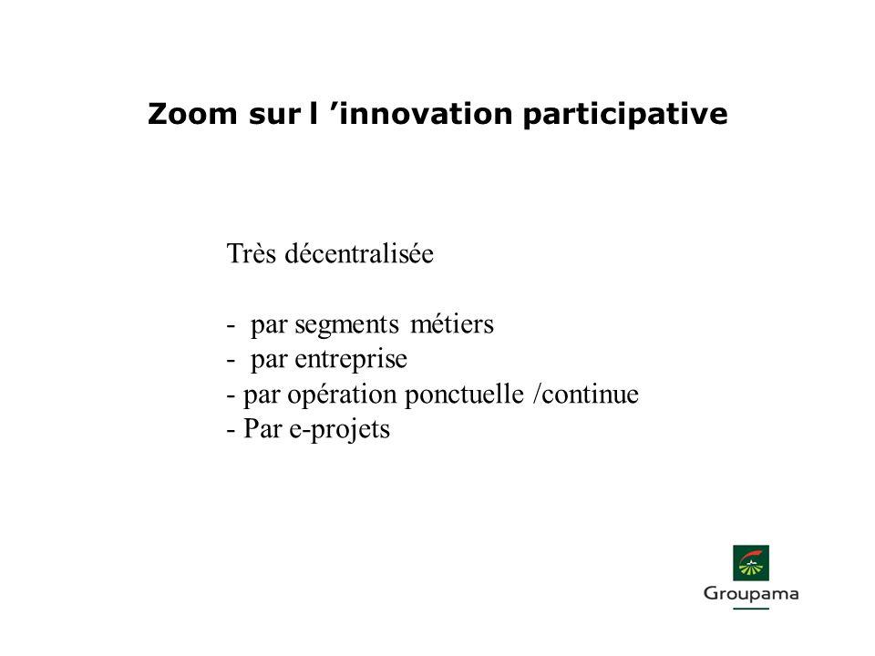 Zoom sur l innovation participative Très décentralisée - par segments métiers - par entreprise - par opération ponctuelle /continue - Par e-projets