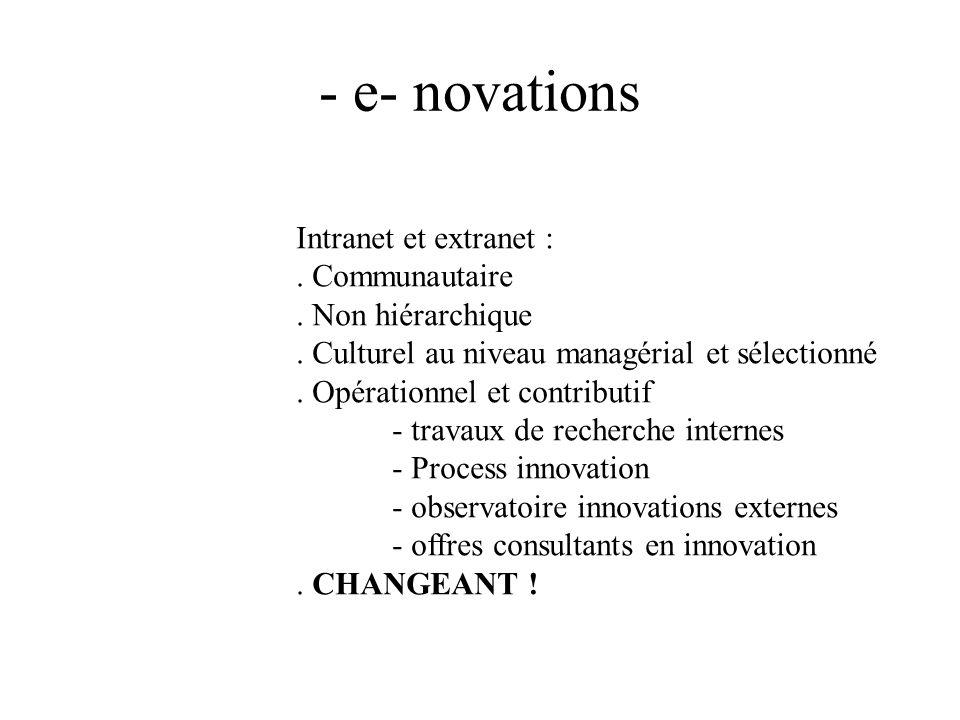 - e- novations Intranet et extranet :. Communautaire. Non hiérarchique. Culturel au niveau managérial et sélectionné. Opérationnel et contributif - tr