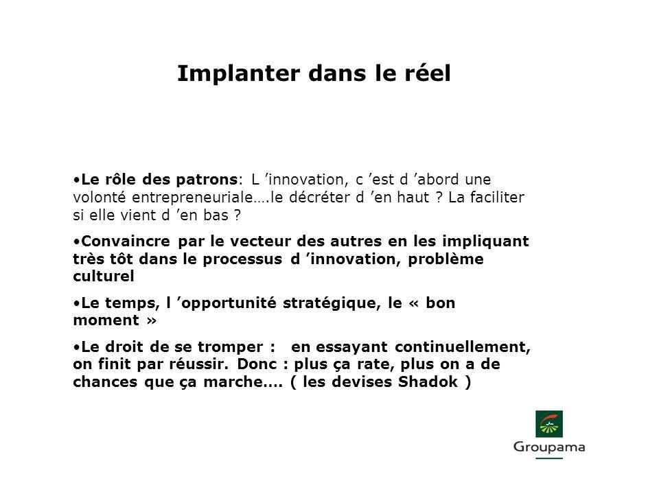 Implanter dans le réel Le rôle des patrons: L innovation, c est d abord une volonté entrepreneuriale….le décréter d en haut ? La faciliter si elle vie